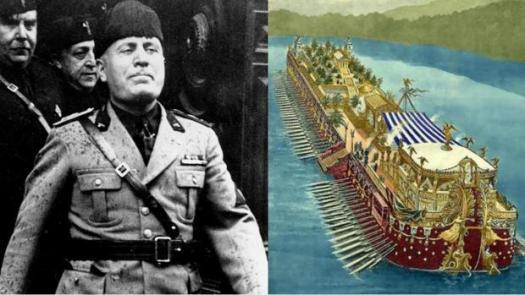 Mussolini, junto a un dibujo antiguo del barco de Calígula que se hundió en el lego Nemi