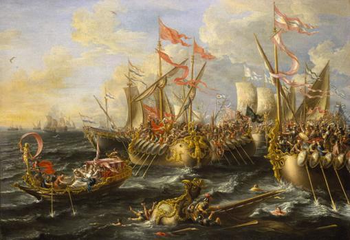 La batalla de Accio, pintada por Lorenzo A. Castro.