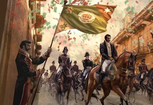 Recreación de la llegada de las tropas de Iturbide a México