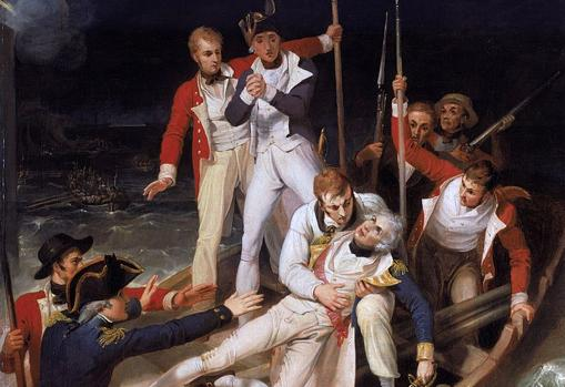 Nelson herido durante el ataque, óleo de Richard Westall