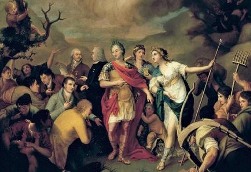 Carlos III entregando las tierras a los colonos de Sierra Morena por José Alonso del Rivero, 1805