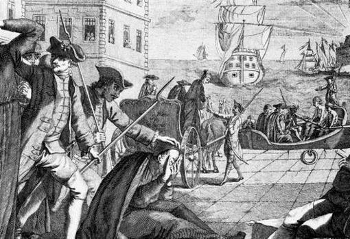 Ilustración que muestra a un grupo de jesuitas siendo embarcado para su expulsión