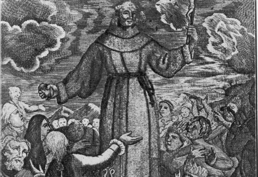Ilustración publicada en la obra «Relación histórica de la vida y apostólicas tareas del venerable padre Fray Junipero Serra», escrita por Fray Francisco Palou en 1787