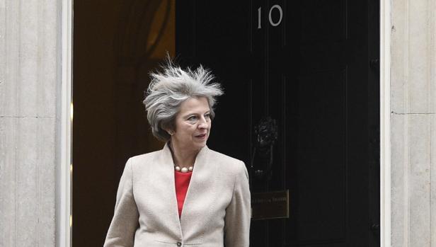 Theresa May, este viernes en Downing Street