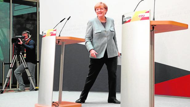 Angela Merkel, hoy, durante una rueda de prensa en Berlín