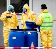 Empleados de la Sanidad con máscaras protectivas están evacuando una granja de patos tras detectarles la gripe aviar en Biddinghuizen, Holanda