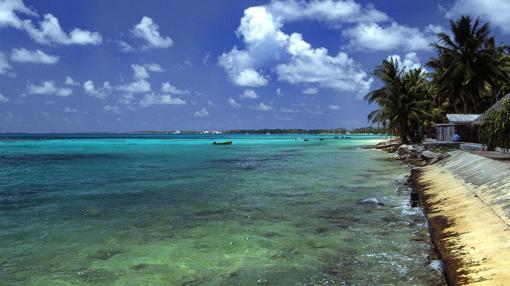 La bahía de Tuvalu, vista desde Funafuti
