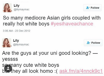 """Screenshot shows two tweets from @lilymaymac dated 2012 that say """"many mediocre Asian girls coupled with really hot white boys"""""""