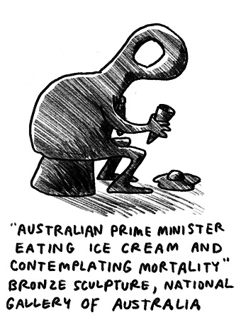 A satirical illustration of a sculpture of a prime minister contemplating.