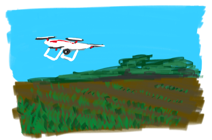 Drawing of a drone flying over crops - drone was surprisingly tricky to get right!