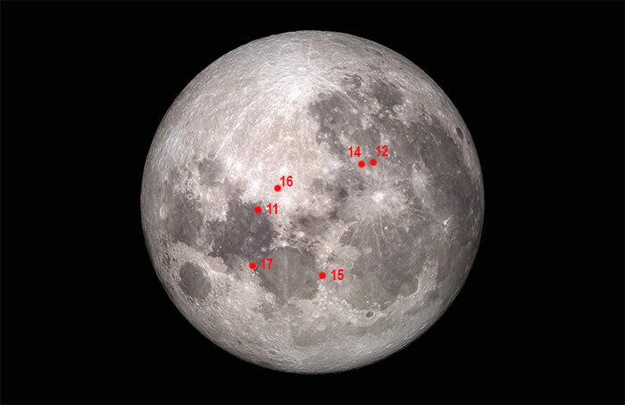 Apollo landing sites marked out on the moon