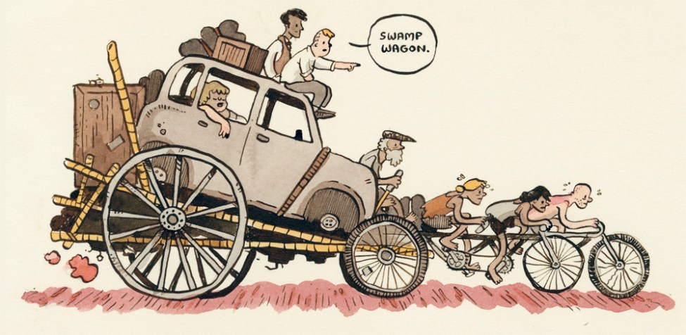 An illustration shows people on bikes towing a trailer with a car on it. The speech bubble of a character says