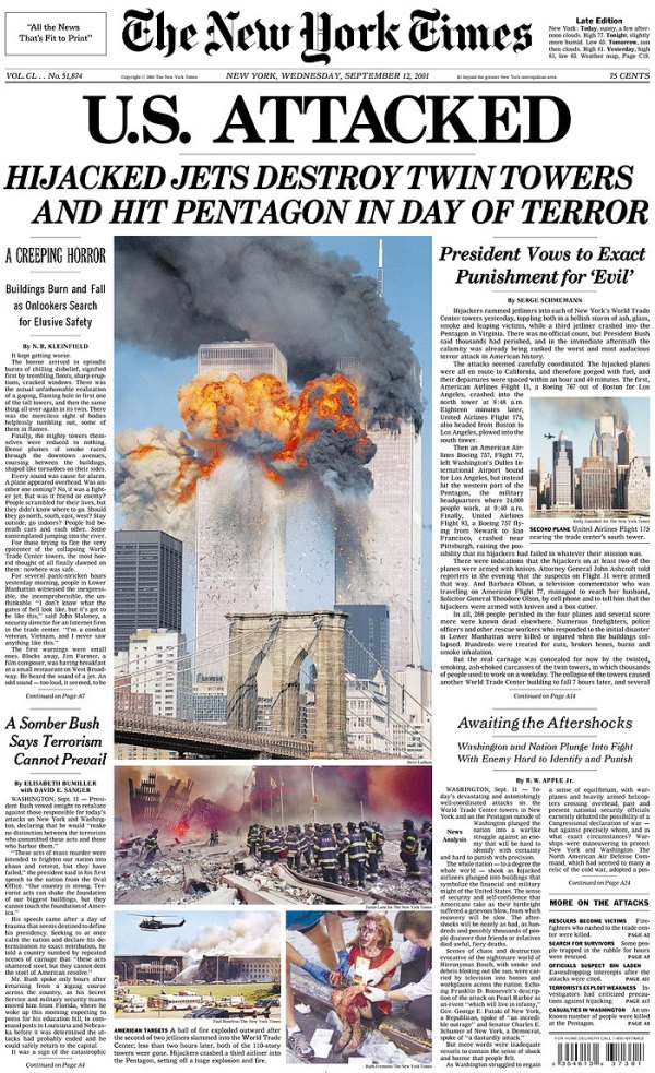 September 11: Newspaper front pages from the following day ...