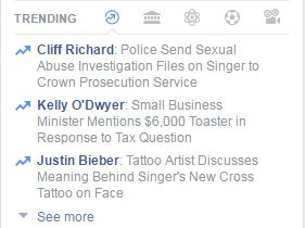 A screenshot of Facebook's trending news list.