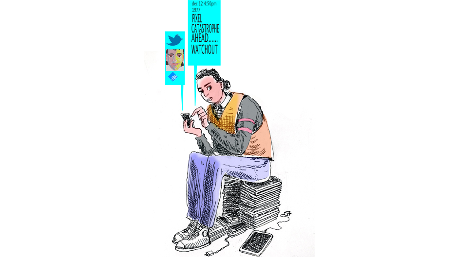 Rocco Fazzari's sketch of his 13-year-old self, tweeting a warning of the demise of cartoonists to his future self.