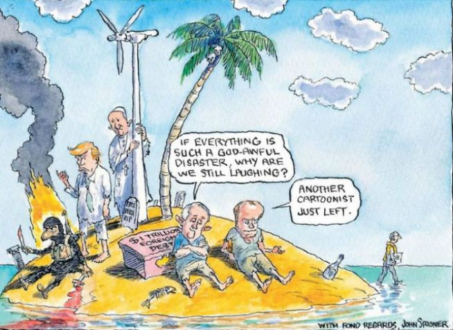 John Spooner's final cartoon for The Age featured Malcolm Turnbull and Bill Shorten on an island.