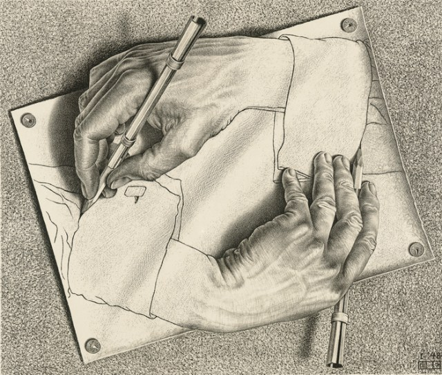 A black and white lithograph that shows, through manipulated perspective, two hands that appear to be drawing each other.