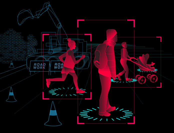 An illustration shows road works blocking a lane of traffic and three people walking across the other. One person pushes a pram