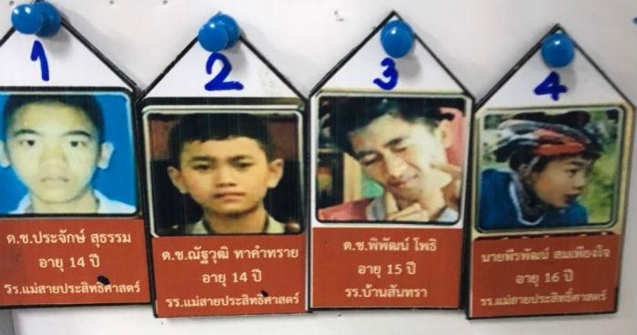 A list from inside the Chiang Rai hospital revealing the names of the first four rescued.