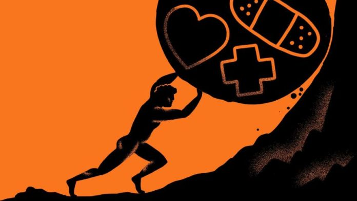 The illustration shows a person pushing a boulder with a first aid symbol on a hill to describe how health advice is not open to everyone.