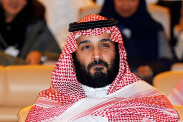 The Saudi Crown Prince Mohammed bin Salman is in the audience of the Future Investment Initiative conference.