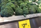 Broccoli on display for sale in supermarket