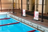 A shot of the end of the lanes inside Melbourne City Baths shows