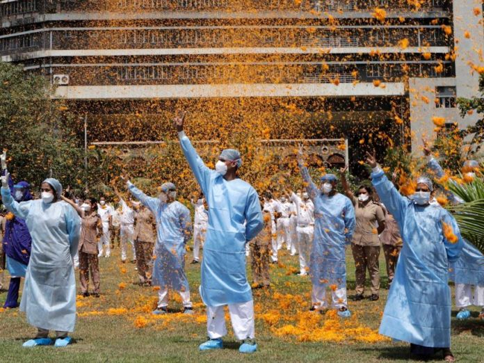 Indian Air Force helicopters showered flowers at hospital staff in Mumbai, India.