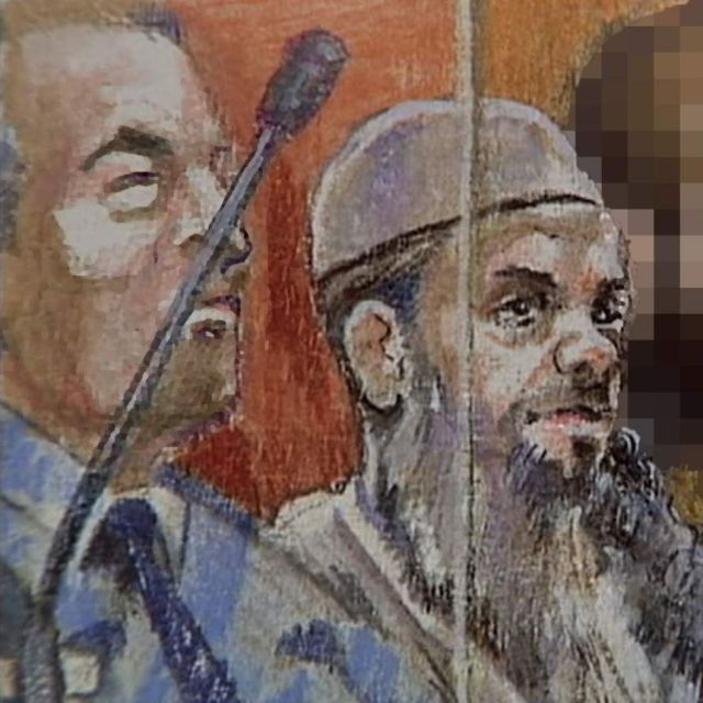 Sketch of four men sitting in court including one man wearing white cap with long beard sitting next to police officer