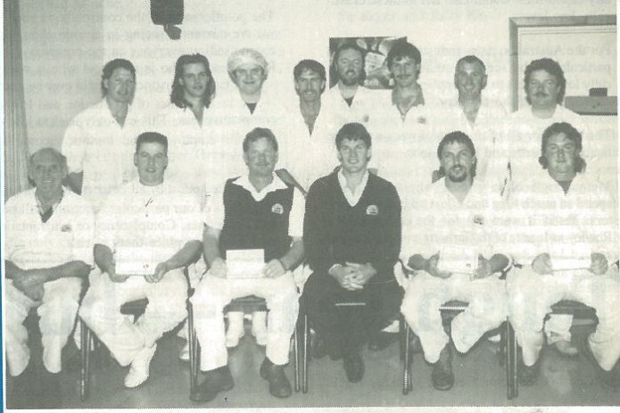 Adrian Wells (third from left in the front row) with his dairy colleagues in 1992