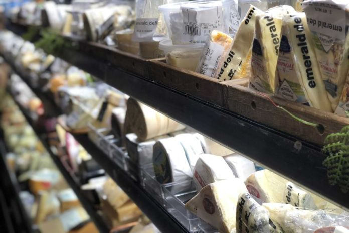 Artisan cheese on sale in a Melbourne market