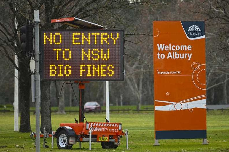A warning sign at Albury in July.