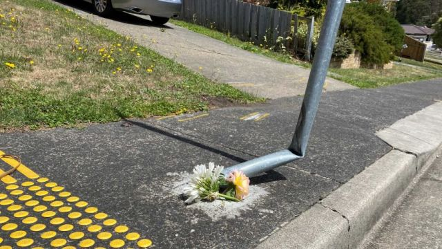 Flowers left at scene of fatal motorcycle crash in Claremont, Hobart, which killed 14 year old