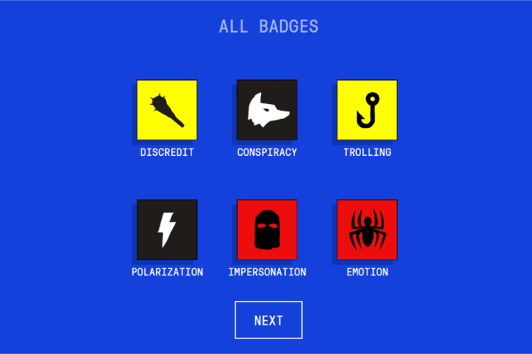 The different badges for misinformation tricks in the 'Bad News' research game