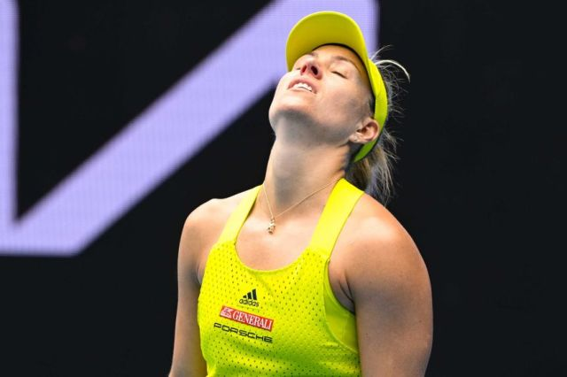 Angelique Kerber looks to the sky in frustration during the Australian Open.