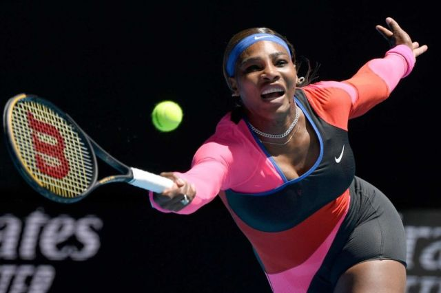 Serena Willaims reaches out to a play a forehand at Melbourne Park during the Australian Open