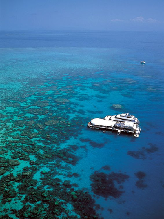 An aerial shot of the Great Barrier Reef