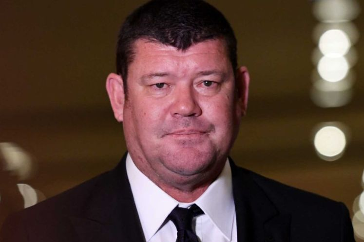 James Packer with lips presses together at Crown Casino in Melbourne
