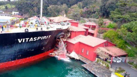 Cargo ship crashes into iconic 18th century mansion in Istanbul