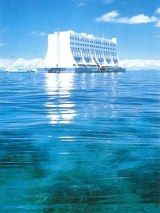 The floating hotel, with the reef in he foreground.