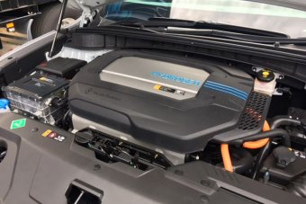 A hydrogen-powered car's fuel cell