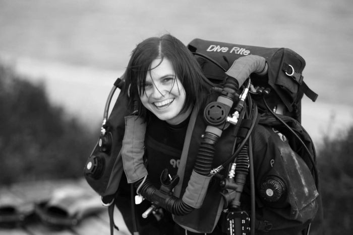 Black and white phot of cave diver Agnes Milowka.