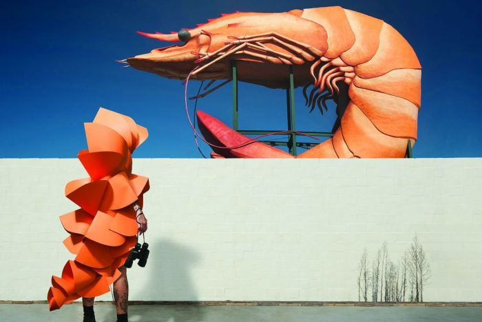 A photograph of a person in prawn costume looking at a giant prawn