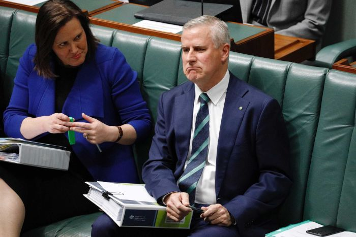 Kelly O'Dwyer looks towards Micheal McCormack who is frowning during Question Time