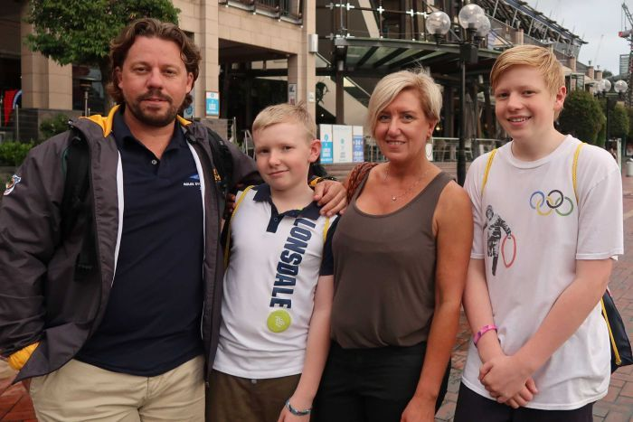 Craig McGrath with his wife and sons in Sydney for the Invictus Games