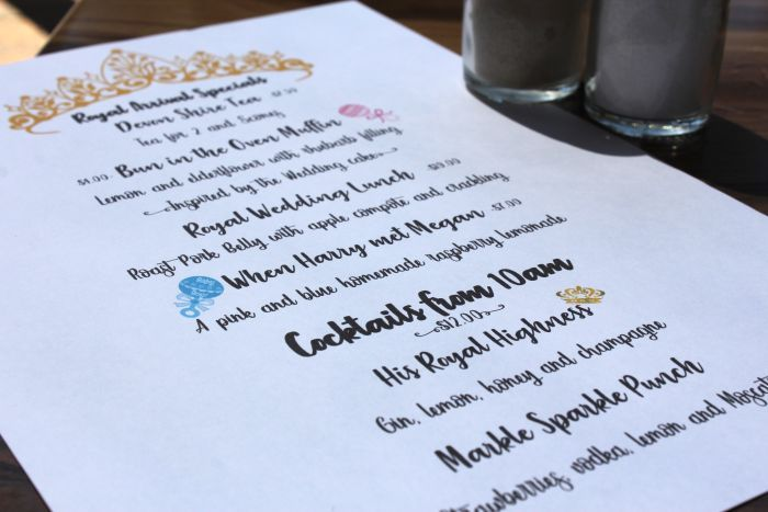 A restaurant menu featuring royal influenced dishes and drinks.