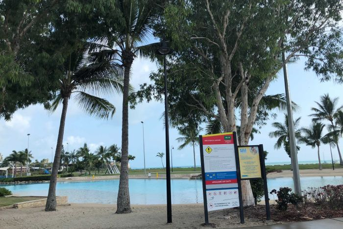 The temporarily closed lagoon at Airlie Beach where a man and his five-year-old son drowned on October 29, 2018.
