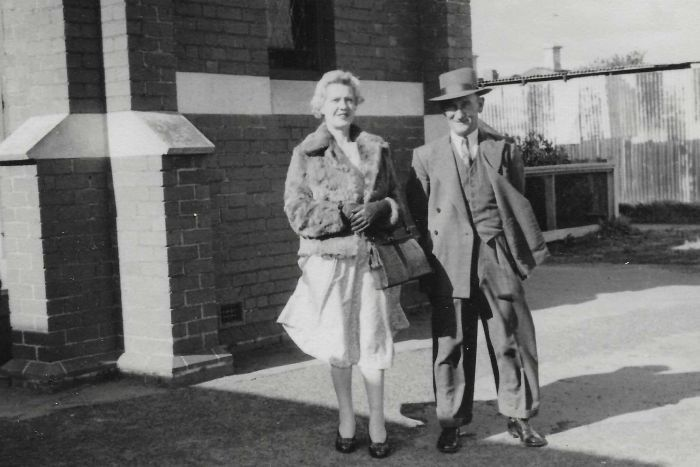 Janet and Jean Berthe walking together, circa early 1950s.