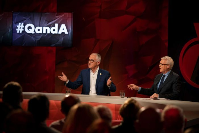 Malcolm Turnbull addresses the audience on Q and A