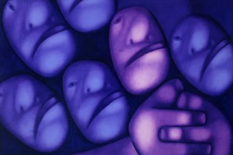 An artwork by Tselkov Oleg shows abstract faces in purple tones.